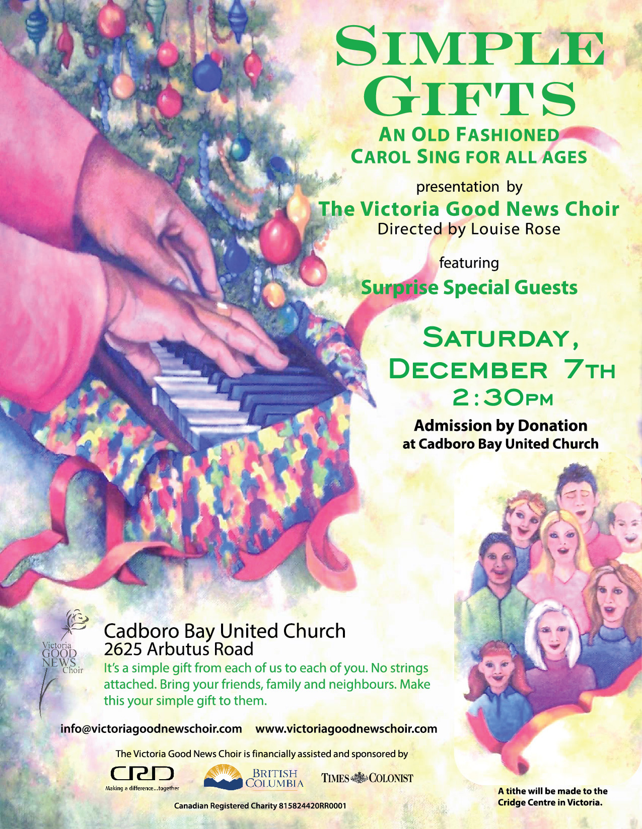 Saturday, December 7th, 2019 Simple Gifts, An Old Fashioned Carol Sing for All Ages, 2:30pm